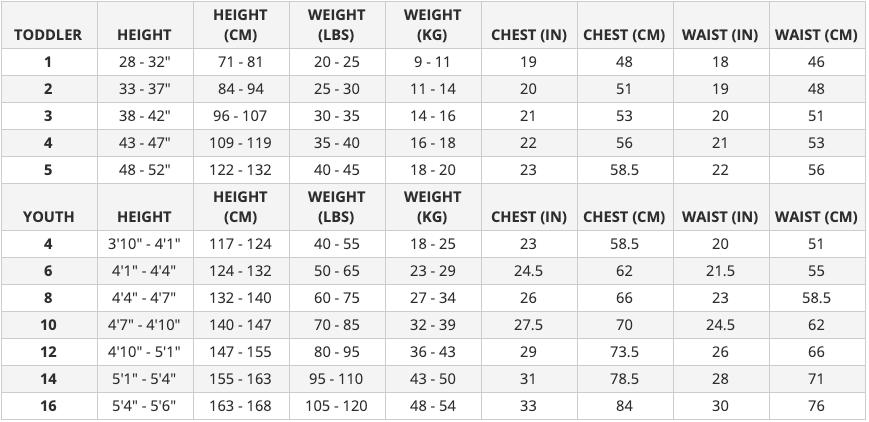 Xcel Wetsuit Size Chart Beginner Surf Gear